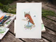 Original watercolor painting of girl plant healing by WarmSquirrel Painting Of Girl, Watercolor Paintings, Healing, The Originals, Nature, Plants, Art, Art Background, Naturaleza