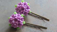 Flower Bobby Pin - Purple Flower Bobby Pin - Purple Flower Bouquet - Purple Bobby Pin - Purple Hair Pin - pinned by pin4etsy.com