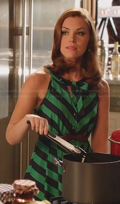 AnnaBeth's green and black striped dress on Hart of Dixie.  Outfit Details: http://m.wornontv.net/22857/