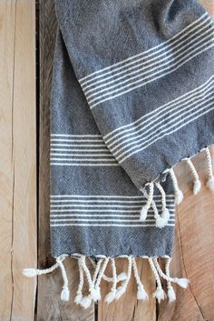 Turkish hand towel imported from Turkey in charcoal grey