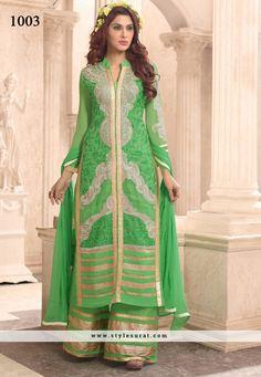 Girlish Green Georgette Palazzo Salwar Suit