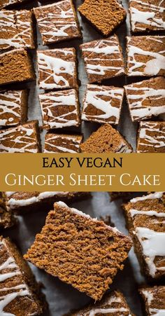Easy Ginger Cake (Vegan) - Domestic Gothess Easy ginger cake - this one bowl sticky vegan ginger cake is so quick and easy to make and tastes amazing; it is the best ginger cake (vegan or otherwise) I have ever eaten! Egg and dairy free. Vegan Dessert Recipes, Baking Recipes, Snack Recipes, Snacks, Best Vegan Desserts, Cookie Recipes, Mug Cakes, Cake Vegan, Vegan Loaf