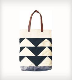 Leather & Canvas Bunting Triangle Tote Bag