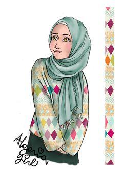 hijabi girl 1 by SNDS-Rouini on DeviantArt Girl Reading Book, Islamic Cartoon, Blue City, Hijabi Girl, Earring Crafts, Borneo, Book Illustration, Islamic Art, Muslim