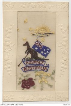 An Australian example of the beautiful hand embroidered silk postcards made in the First World War Vintage Cards, Vintage Postcards, Australian Vintage, Stay The Night, Embroidered Silk, Wwi, Beautiful Hands, Projects To Try, Military