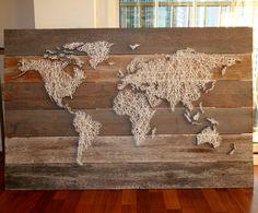 World string art  Only cost $30  #stringart #world #diy Diy Canvas Art, String Art Patterns, Boho Diy, Concrete Lamp, Design Crafts, Wood Art, Diy Art, Home Remodeling, Diy Furniture