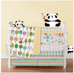 Items Similar To 2pc Crib Set Skirt And Sheet Panda Love Collection Design Your Own Limited Quantaties On Etsy