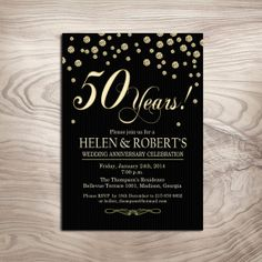 Diamond Gold  Milestone Wedding Anniversary Invitation / 50th / Customized Invitation