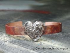 Rustic artisan cuff, valentine gift, copper and sterling silver $75.00 by JoDeneMoneuseJewelry