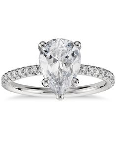 Pear Shaped Petite French Pave Crown Diamond Engagement Ring