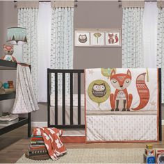 The Little Haven Clever Fox 4 piece crib bedding set presents a combination of a traditional woodland theme. The freshness of the woodland air is reflected in the cotton knit prints and the unique color story to create a stylish yet comfortable nursery.