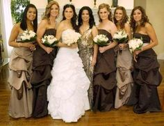 Champagne and brown bridesmaids dresses