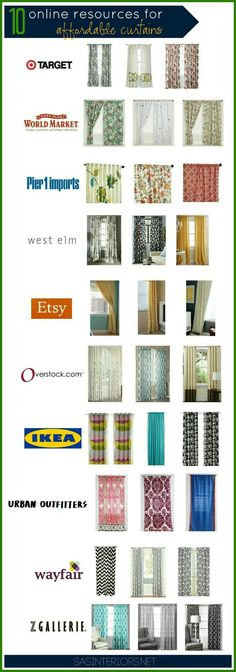10 Online Resources for Affordable Curtains... World Market ones can be as low as $20. So cute!