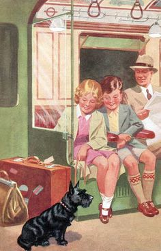 """On the train"", children's book illustration."