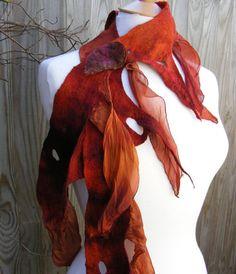 Nuno Felt Fairy Scarf , Boho Scarf,  Nuno Felted Wrap,  Fairy Costume,  Forest Scarf , Festival Accessory, woodland scarf, tattered scarf,