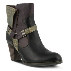 """L'Artiste Style: Rikeet Hand painted color-blocked and embossed leather, western-inspired pull-on bootie with decorative ornamented straps and zipper welt detail. Heel Height (approximately): 3"""" stacked Shaft Height (approximately): 5 1/4"""" Circumference (approximately): 11"""" Features: -Round toe, hand painted smooth and embossed leather, shiny metal hardware, zipper welt detail. -Inside zipper closure. -Soft printed textile lining. -Synthetic leather padded insole. -Rub..."""
