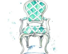Louis Arm Chair watercolor print--image via Etsy