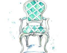 Louis Arm Chair watercolor print--image via Etsy
