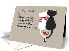 Girlfriend Anniversary, Love Cats card