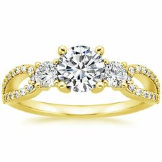 18K+Yellow+Gold+Lumiere+Three+Stone+Ring+(1/2+ct.+tw.)+from+Brilliant+Earth