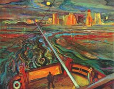 Frederick H Varley, Night Ferry Vancouver, 1937