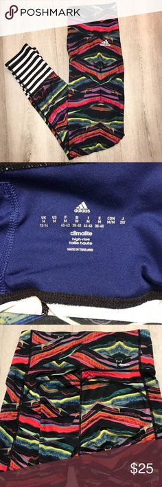 LIKE NEW adidas Leggings High-waisted, climalite adidas patterned leggings. Features a limited edition print and hidden pocket. Like new condition! No snags, tears, or stains. The perfect leggings for your workout! Price negotiable. adidas Pants Leggings