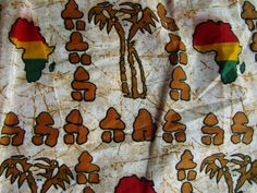 Map of Africa and palm tree fabric/ Fabric wholesale/ Clothing fabric/ Dress fabric/ Skirt fabric/ Shirt fabric/ Wall decor by handicraftafrica on Etsy