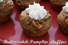 Butterscotch Pumpkin Muffins {W/Cream Cheese Frosting}