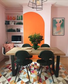 We love how this dining area/home office combo plays with color (via Dining Room Combo, Decor, Living Room Dining Room Combo, Retro Decor, Dining Room Office, Colorful Interiors, Dining, Home Deco, Retro Interior