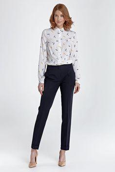 Pantalon bleu marine droit mode femme habillé NIFE S/36 M/38 L/40 XL/42 2XL/44