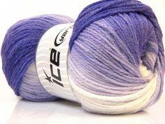 Lot of 4 x 100gr Skeins ICE MAGIC LIGHT Hand Knitting Yarn Purple Lilac White #ICE #Baby