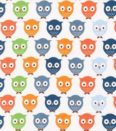 Novelty Cotton Fabric- Owls On White