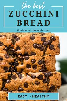 This Healthy Zucchini Bread Recipe is perfect for a simple snack or nutritious breakfast. Gluten free & low sugar, this easy clean eating recipe creates a moist bread, made even better with mini chocolate chips! #healthy #zucchini #bread #zucchinibread Best Zucchini Bread, Chocolate Chip Zucchini Bread, Healthy Zucchini, Chocolate Chips, Easy Clean Eating Recipes, Healthy Gluten Free Recipes, Healthy Dessert Recipes, Snack Recipes, Breakfast Recipes