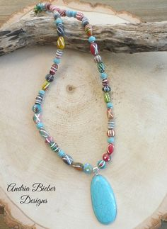 Turquoise stone pendant, clay African beads and silver metal necklace. Metal Necklaces, Metal Jewelry, Gemstone Jewelry, Beaded Jewelry, Silver Jewelry, Unique Jewelry, Jewelry Ideas, Tribal Jewelry, Bohemian Jewelry