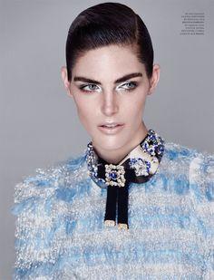 Getting her closeup, Hilary Rhoda poses in Dolce & Gabbana dress and necklace with metallic eyeshadow for Harper's Bazaar Magazine Kazakhstan December 2016 edition