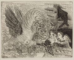 Pable Picasso: Harpy with bull's head and four little girls on top of a tower with black flag; plate 13 of the Vollard Suite, December 1934