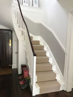 Farrow & Ball Wimborne White paired with the darker Cornforth White – hallway White Hallway, Wimborne White, White Staircase, House Guide, Grey And White Hallway, Stairway Walls, Victorian Hallway, Hallway Decorating Colours, Hallway Colour Schemes
