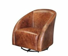Leather Club Chairs Heirloom Quality Vintage Brown Swivel Chair Set of Two