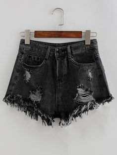 Shop Bleach Wash Distressed Denim Shorts at ROMWE, discover more fashion styles online. Distressed Denim Shorts, Denim Shirts, Denim Fabric, Waisted Denim, Black Fabric, Mode Outfits, Short Outfits, Summer Outfits, Teen Fashion