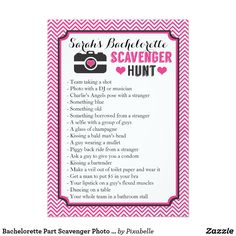 Bachelorette Part Scavenger Photo Hunt Game Card Bachelorette Scavenger Photo Hunt Game Custom Create your own list of items to this bachelorette party scavenger photo hunt game, and personalize it with the name of the new bride.