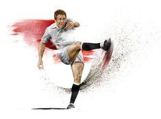 HelloVon Studio www.hellovon.com London illustrator Von —Twickenham campaign illustration. Sport, action, rugby, football, contemporary, modern, portrait, painting, ink, watercolour, celebrity, icon, hero, iconic