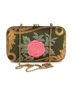 Bottle Green Clutch with Floral Motif- Buy Bags,Karieshma Sarnaa Clutches,The Best Of Shahpur Jat Online | Exclusively.in