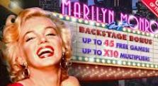 Three or more #MarilynMonroe scatter symbols landing anywhere on the reels triggers the backstage #bonus game. Players will be award ten free spins with a 2x multiplier and the chance to win more.  Players will be presented with five pictures of Marilyn Monroe from which you will need to choose two.  These will reveal #extra free spins, an increased multiplier value or extra free spins plus multiplier value. You can then start the #free spins.