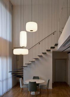 ToTeM Pendant Light Pendant Light, Modular Light Each letter in the ToTeM Famil Mezzanine Design, Staircase Design, Modern Stairs Design, Modern Staircase Railing, Stair Design, Railings, Interior Stairs, Interior Architecture, Stairs Architecture