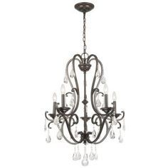 Bring a rustic contemporary feel to your space with this Hampton Bay Light Oil Rubbed Bronze Crystal Chandelier. Easy to install. Bathroom Chandelier, Bronze Chandelier, Rustic Chandelier, Mini Chandelier, Chandelier Lighting, Chandeliers, Chandelier Crystals, Cabin Lighting, Farmhouse Chandelier