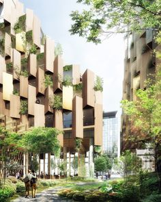 World Architecture Community News - Kengo Kuma unveils design for Eco-Luxury Hotel comprised of wooden and plant covered facade A As Architecture, Futuristic Architecture, Sustainable Architecture, Kengo Kuma, Wooden Facade, Metal Facade, Grande Hotel, Green Facade, Hotel Paris