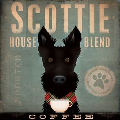 Scottie Coffee Company Scottish Terrier original graphic art on canvas 12 x 12 x 1.5. $80.00, via Etsy.