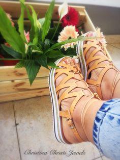 Leather Sandals Greek Sandals Tie up by ChristinaChristiJls