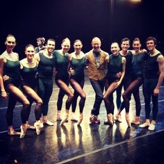 "Laura and Jerome with rest of the cast of ""In the Middle, Somewhat Elevated""; choreographer William Forsythe in photo also"