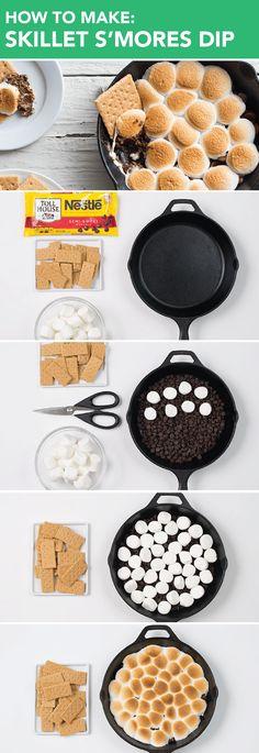 Skillet S'mores Dip Fall Dessert Recipes, Kid Desserts, Dessert Dips, Creative Desserts, Holiday Recipes, Cast Iron Skillet Cooking, Iron Skillet Recipes, Skillet Meals, Roasting Marshmallows